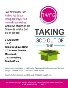 Need to take God out the box? This April join us for our inaugural networking session and prayer.