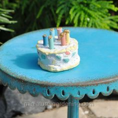 Birthday Cake with Candles...vanilla and chocolate flavors for the miniature garden.  #miniaturegardening #fairy