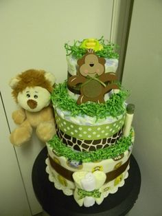 JUNGLE theme Monkey, Lion & Giraffe 3 Tier diaper cake baby shower decoration RESERVED via Etsy
