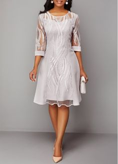 Cocktail Party Dress Three Quarter Sleeve Back Zipper Round Neck Lace Dress Tight Dresses, Casual Dresses, Dresses Dresses, Spring Dresses, Elegant Dresses, Trendy Dresses, Evening Dresses, Dresses Online, Dresses For Sale