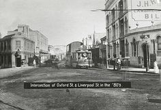 [Tram in operation - intersection of Oxford St and Liverpool St, Sydney (NSW)] The Rocks Sydney, Liverpool Street, Oxford Street, Botany Bay, Sydney City, Sense Of Place, Historical Architecture, Historical Pictures, Sydney Australia