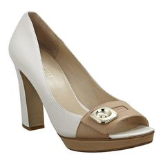 """Peep toe pump with button detail.  4 1/4"""" heel and 3/4"""" platform. I like the black and white one best!"""