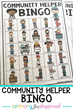 Community Helper Bingo - These community helper bingo cards are perfect for class parties, as a whole class reward, family literacy nights or to use during your community helper unit. #communityhelper