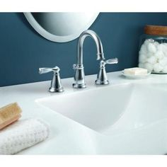 MOEN Banbury 8 in. Widespread 2-Handle High-Arc Bathroom Faucet in Chrome-CA84924 - The Home Depot