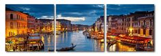 Early Evening Venetian Canal Mounted Photography Print Triptych