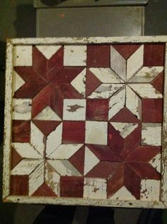 """Amish made barnwood quilt 2x2 square by an inch deep Also have these in a 12"""" x 12"""" size for $69 3'x3' $175 4'x4' $225"""