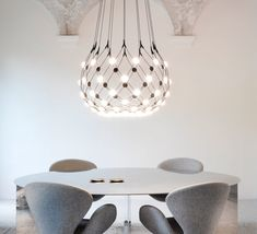 The lighting pendant Mesh is signed by Francisco Gomez Paz for the famous Italian house Luceplan. Light Architecture, Light, Lighting Inspiration, Mesh, Led, Mesh Lighting, Pendant Light, Home Decor, Ceiling Lights