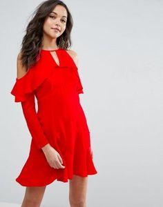 ASOS Cold Shoulder Ruffle Tea Dress