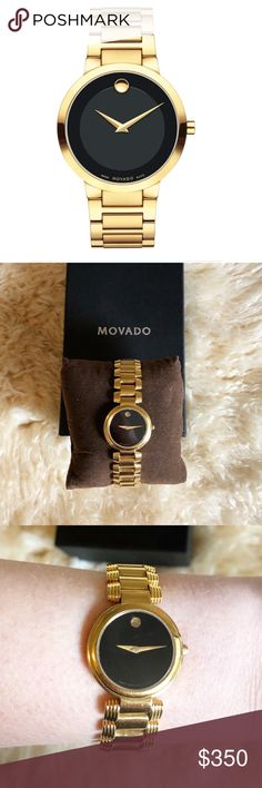 Movado Classic Bracelet Watch Gleaming sharp hands and a 12-o'clock dot mark the black Museum dial of an elegant, accurate Swiss-made watch set on a minimalist link bracelet Adjustable- links can be removed  39mm case Gifted but never worn. Movado Accessories Watches