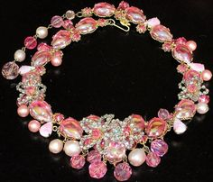 DeMARIO Magnificent & MASSIVE Pink Rhinestone & Foil Glass Cabochon Necklace