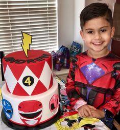Power Ranger Cake/ Red Ranger Cake/ Power Ranger Birthday Cake/ Fondant Work/ All Edible 6th Birthday Cakes For Boys, Fourth Birthday, Baby Boy Birthday, 6th Birthday Parties, Birthday Ideas, Power Ranger Cupcakes, Power Ranger Cake, Power Ranger Party, Power Rangers Birthday Cake