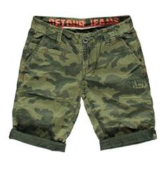 Retour Jeans korte broek / short in een all over camouflage dessin, model Kane 440 - Army - NummerZestien.eu