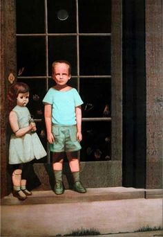 The Hands Resist Him was painted by California artist Bill Stoneham in 1972.     In it, a boy and a female doll, stand in front of a glass door upon which     hands are being pressed. The painting entered the realm of urban legend in     2000 when it went on sale on eBay with a description that implied that it     was cursed. The seller claimed that the two characters moved at night and     that they would sometimes leave the painting altogether