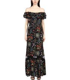 Alice+Olivia Black Multi Floral Maxi