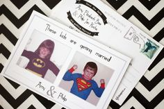 Save the Date Postcards, with superhero childhood photos // black, white and… Wedding Prep, Wedding Save The Dates, Wedding Stuff, Wedding Ideas, Childhood Photos, Save The Date Postcards, Photo Black, Happy Endings, Getting Married