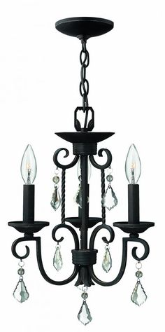 Hinkley Canada 3503OL, Three Light Black Up Mini Chandelier, CASA, Olde Black - Perfect for any bedroom, or put a couple over your island!