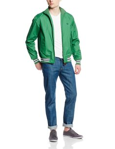 Fred Perry Men's Waxed Cotton Tipped Bomber, Pea Green, X-Large at Amazon Men's Clothing store: