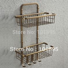 69.39$  Watch now - http://alijy8.worldwells.pw/go.php?t=1585600862 - Retail - Luxury Brass Bathroom Shelves, Bronze Color  Double Layer Holder with Wall Mounted , Free Shipping L16682