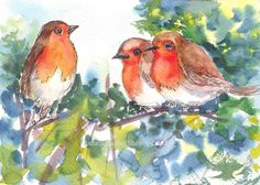 "Three fluffy little Robins doing a conference- in watercolors. Who doesn't love Robins?    Size: 5""x 7""-300 gsm watercolor paper. No watermarks on the original painting.    A perfect gift item !!    No frame, Supplementary images with frame/interior walls for reference purposes only and not to scale.    The colors/contrast of the original paintings may slightly vary from what one views on the computer monitor/mobile screen due to difference in settings.    Dispatched from India within 3 to 5…"