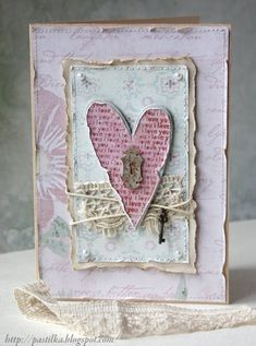 Beautiful Shabby Pink Heart Card...with tiny key.