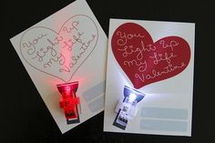 Printable Mini-Flashlight Heart Valentine's Day Cards by paperseed, with optional finger light idea, free to download and print