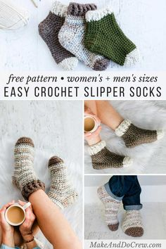 This free simple crochet slipper socks pattern for adults includes instructions to fit men and women of all sizes. The chunky yarn gives them plenty of warmth squish and durability and allows you to make a pair in hours tutorial This free crochet slippers Easy Crochet Slippers, Crochet Socks Pattern, Bag Crochet, Mode Crochet, Crochet Shoes, Crochet Gifts, Crochet Clothes, Crochet Baby, Knitting Patterns