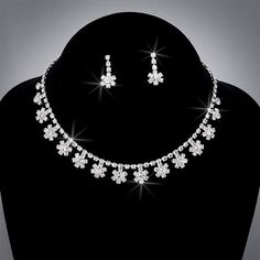 Bride Crystal Rhinestone Choker and Earring Set, CHO-5015  - Click image twice for more info - See a larger selection of bridal jewelry at http://zweddingsupply.com/product-category/jewelry/ -  woman, wedding fashion, wedding style, bride accessories, wedding ideas