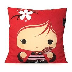 Decorative Pillow, Deluxe Pillow, Throw Pillow, Kawaii Toy Pillow, Stuffed Doll, Eco-Friendly Printed on Cotton Fabric - Red Kokeshi Geisha. $38.00, via Etsy.