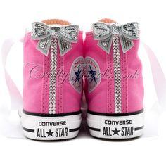 e1e1a59721fd Swarovski Crystal Kids Hi Top Converse In Pink