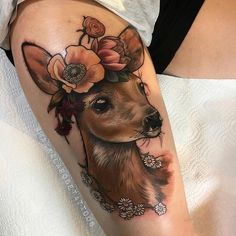 Dear Tattoo With Flowers Best Tattoo Ideas Gallery - Pretty Floral Tattoo Fox An. - Dear Tattoo With Flowers Best Tattoo Ideas Gallery – Pretty Floral Tattoo Fox And Lizard Flowers - Upper Arm Tattoos, Leg Tattoos, Flower Tattoos, Body Art Tattoos, Sleeve Tattoos, Fawn Tattoo, Doe Tattoo, Tattoo Motive, Tattoo Thigh