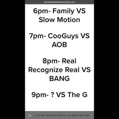 "Season 3 Week 2 schedules of the ABA  Clarification : 9PM- The Ones VS The G  Who will take home the title of the ultimate ""The"" team?!?!?! #AlphaBasketballAssociation #YouAreAlphaBall #ABA #AlphaFanOfTheWeek #AlphaGameOfTheWeek #AlphaOfTheWeek #PathToTheShip #ABAPowerRankings #EmpireBarbershop #GNC #NBA #BallisLife #HoopDreams #ABASeason3 #Ballin #Basketball #CooGuys #Family #AOB #HallOfLegends #SlowMotion #TheG #BANG #RealRecognizeReal by alphabasketballassociation"
