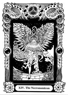 These tarot cards were designed with writer Paul Rydeen. Atu XIV: The Necronomicon Lovecraft Cthulhu, Hp Lovecraft, Call Of Cthulhu Rpg, Lovecraftian Horror, Arte Horror, Horror Art, Black Books, Cool Artwork, Amazing Artwork