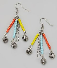 Take a look at this Turquoise & Yellow Bead Chain Earrings by Treska on #zulily today!