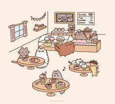 Pusheen cafe Chat Kawaii, Kawaii Cute, Kawaii Shop, Crazy Cat Lady, Crazy Cats, Gato Pusheen, Pusheen Shop, Pusheen Stormy, Image Chat