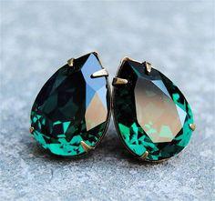 Emerald Green Large Bridal Earrings Swarovski Crystal Emerald Earrings Bridal Jewelry Mashugana on Etsy, $29.50