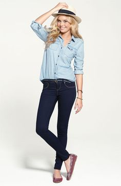I love this look! I have been wanting a denim button down, and it looks fantastic with jeans! Denim Fashion, Teen Fashion, Womens Fashion, Fashion Trends, Fashion Shoes, Moda Casual, Casual Chic, Denim Jeans, Blue Jeans