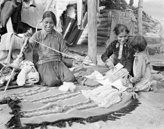 Navajo women spinning and carding