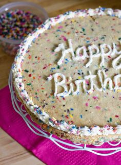 Funfetti Cookie Cake...made for sarah's birthday and I only used half the amount of butter by accident, but it was still great! will definitely make again