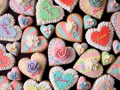 various hear cookies for valentine's day♡