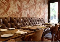Highlands Gastropub NYC - Love the warm tones + wallpaper. Reminds me of the Parlor.