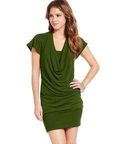 Tempted Juniors Dress, Short Sleeve Cowl Neck Draped Mini