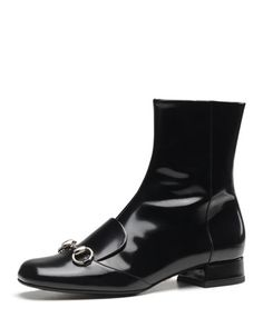X2AWR Gucci Leather Horsebit Ankle Boot, Black ❤️