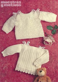 Muestras y Motivos cheers you up to make this two beautiful… Kids Patterns, Knitting Patterns, Little People, Little Ones, Crochet Bebe, Crochet Baby Clothes, Baby Knitting, Children, Sweaters
