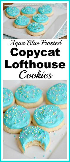 Aqua Blue Frosted Copycat Lofthouse Cookies- There's no need to go to the store for some delicious cookies! Here's how to make homemade aqua blue frosted copycat Lofthouse sugar cookies! | homemade de
