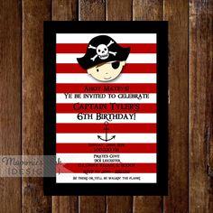 Pirate Stripes Birthday Invitation  Pirate Party  por MommiesInk