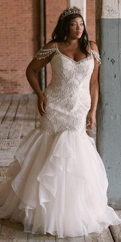 plus size wedding dresses mermaid with spaghetti straps sweetheart- maggie sottero Plus Size Bridal Dresses, Plus Size Wedding Gowns, Wedding Dresses With Straps, Perfect Wedding Dress, Western Wedding Dresses, Wedding Dress Shopping, Mermaid Dresses, Lady, Bridal Gowns