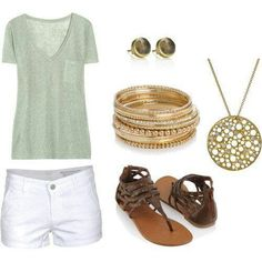 Casual and clean with white shorts.