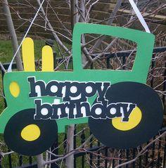 Happy Birthday Sign- John Deere Tractor Inspired- READY TO SHIP. $18.00, via Etsy.