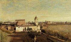 Autore: Jean Baptiste Camille Corot; Titolo: Trinità dei Monti; Data: 1825-38; Tecnica: olio su tela, 45 x 74 cm; Luogo di coservazione: Museo del Louvre, Parigi