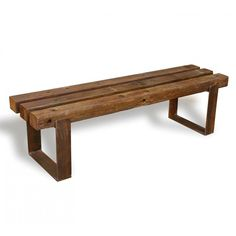 Móvel Banco Base de Aço Cruzeta Natural 1.60m                                                                                                                                                     Mais Iron Furniture, Bench Furniture, Outdoor Furniture, Outdoor Decor, Wood Steel, Wood Doors, Wood Table, Wood Crafts, Dining Bench